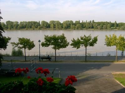 Blick von der vorderen Terrasse auf den Rhein.