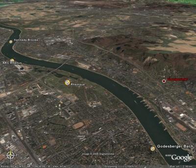 Unsere übliche Ruderstrecke: vom Bootshaus zur Mündung des Godesberger Baches und wieder zurück. (Google Earth)